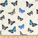 Blue Notes Butterflies Cream/Blue