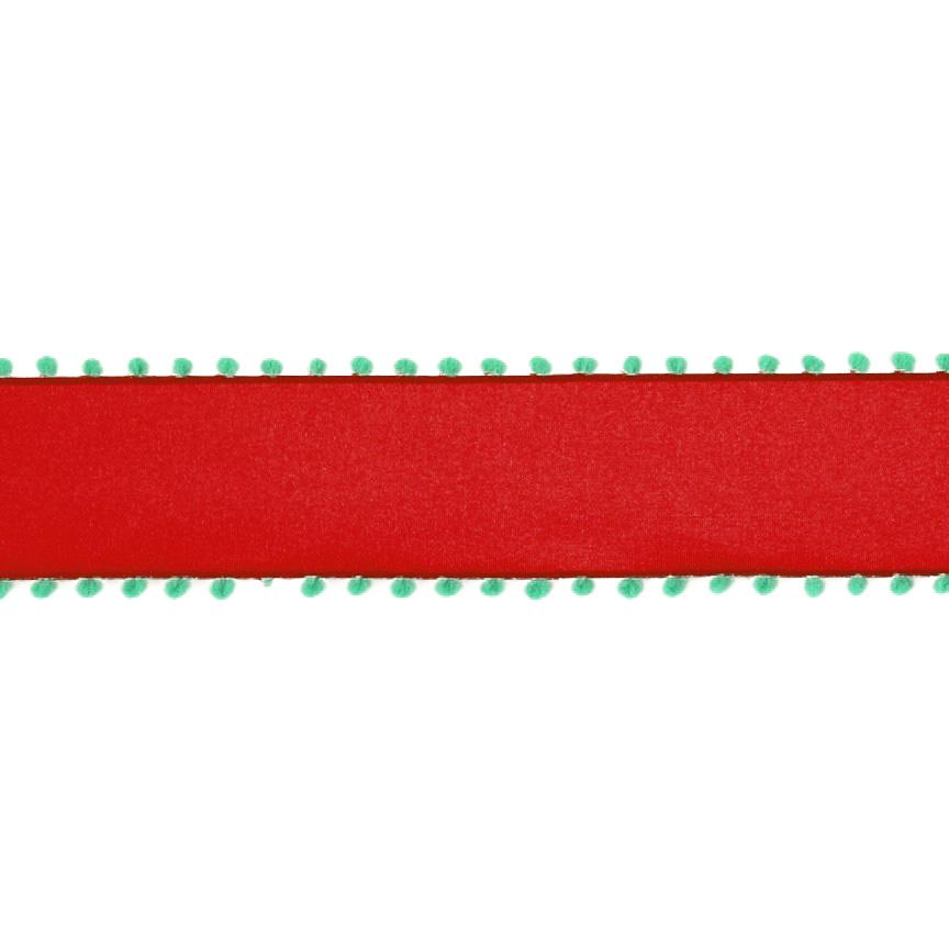 "1 1/2"" Pom-Pom Edge Wired Ribbon Red/Green"