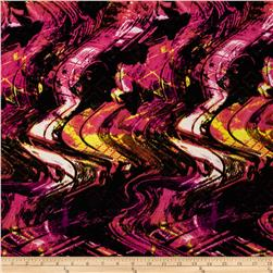 Designer Stretch ITY Abstract Fuchsia/Black