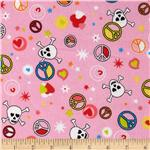 224855 Flannel Skulls & Piece Signs Pink
