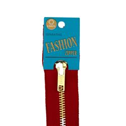 "Coats & Clark Fashion Brass Separating Zipper 20"" Red"