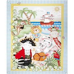 Bazoople Pirates Quilt Panel Blue