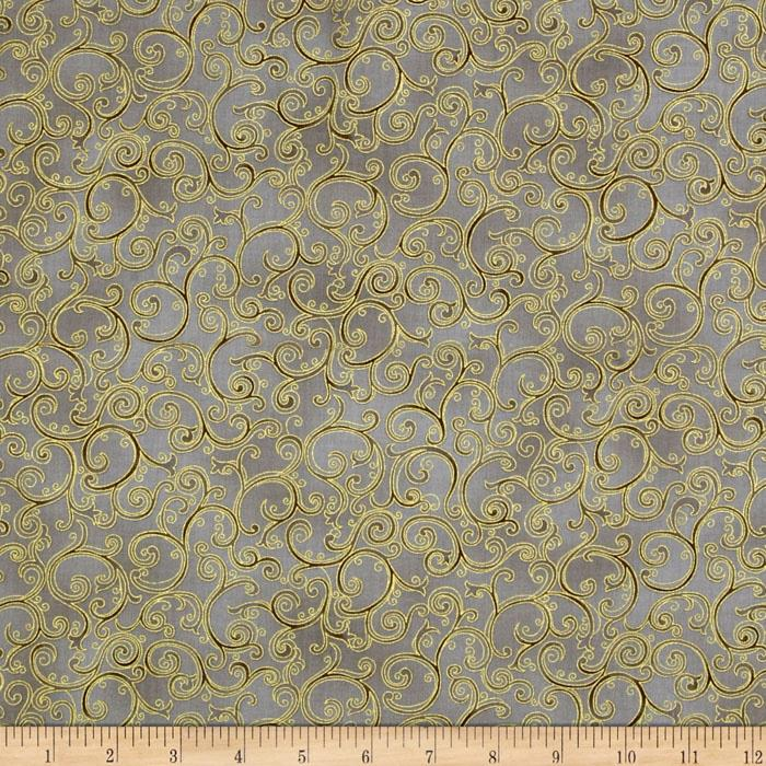 Esmeralda Metallic Scroll Taupe