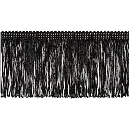 "4"" Metallic Chainette Fringe Trim Black"