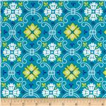 0272345 Mediterranean Dream Foulard Medallions Turquoise