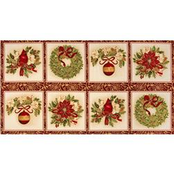 Holiday Flourish 6 Holiday Blocks Panel Metallic Holiday Red