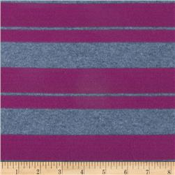 Designer Stretch Rayon Jersey Knit Stripes Berry