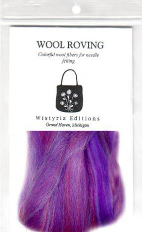 100% Wool Roving 12&quot; Package .2 Ounces Variegated Lavender