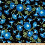 0301835 Hummingbird Morning Glories Metallic Black
