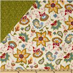 FF-534 Dilly Day Double-Sided Quilted Floral/Blender Green/White
