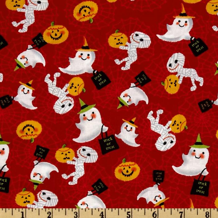 Trick or Treat Tossed Mummies & Ghosts Red