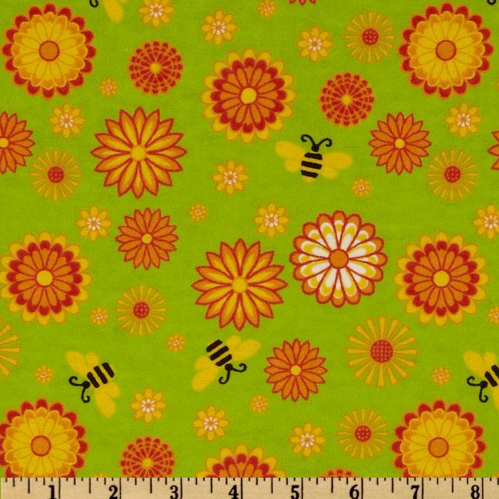 Flannel Floral Bees Green/Multi
