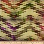 Indian Batik Chevron Plum/Sage/Olive