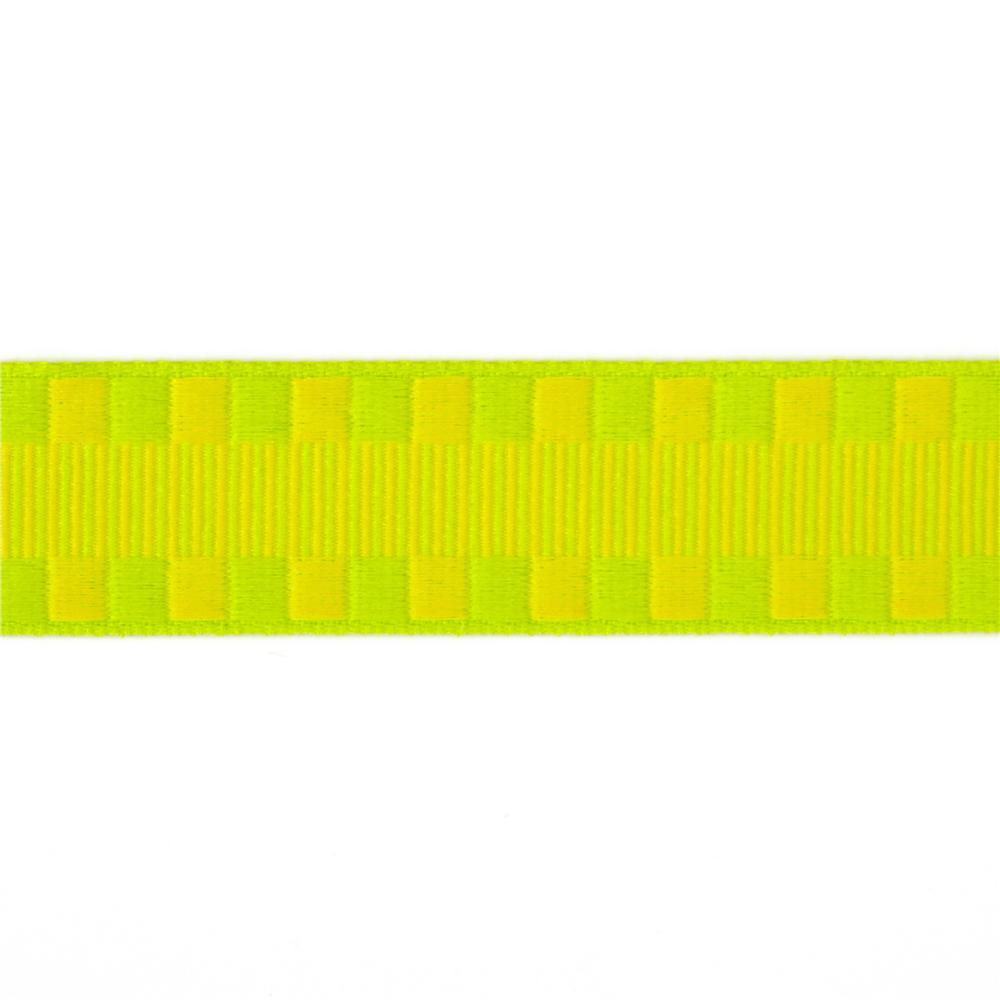 1'' Jacquard Ribbon Check Stripes Yellow/Parrot Green