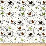 0283691 Minky Cuddle Birds On The Tree Olive/Brown