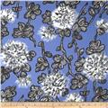 Bloom Stretch Cotton Sateen Blooms Blue/Grey