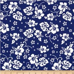 Aunt Polly's Flannel Hibiscus Blue