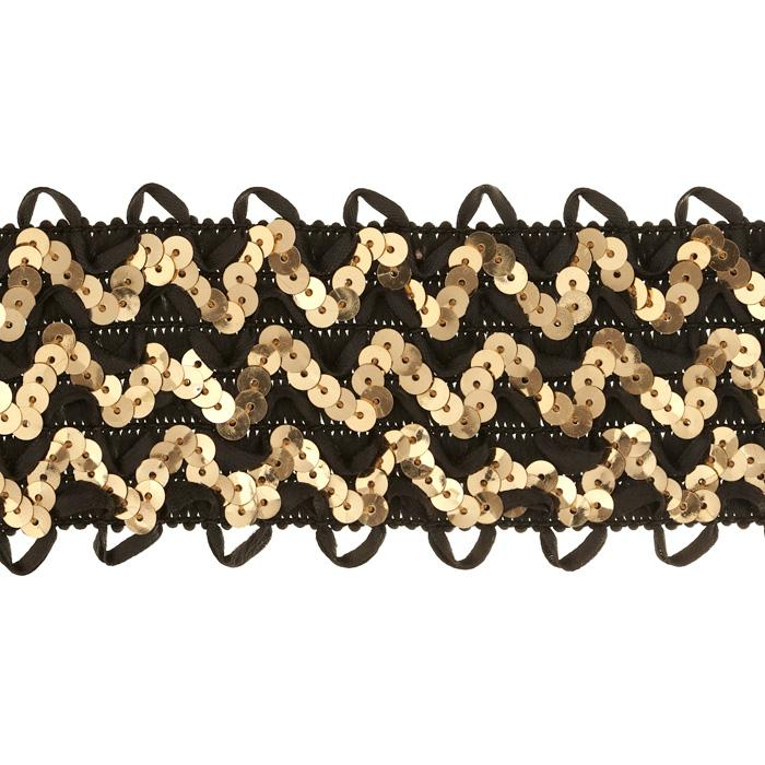 "2 3/4"" Stretch Sequin Ric Rac Ribbon Trim Gold/Black"