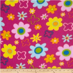 Fleece Flowers Bright Pink