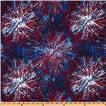 FD-060 Timeless Treasures Patriotic Fireworks Blue