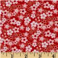 Cherry Blossom Festival Butterfly & Birds Floral Red