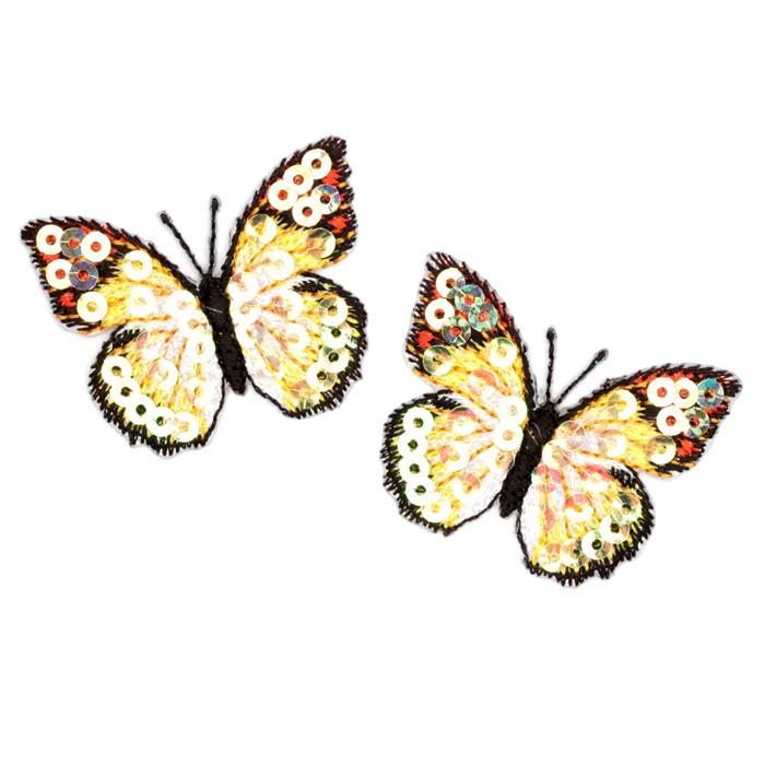 Small Butterfly Iron On Sequin Applique Yellow
