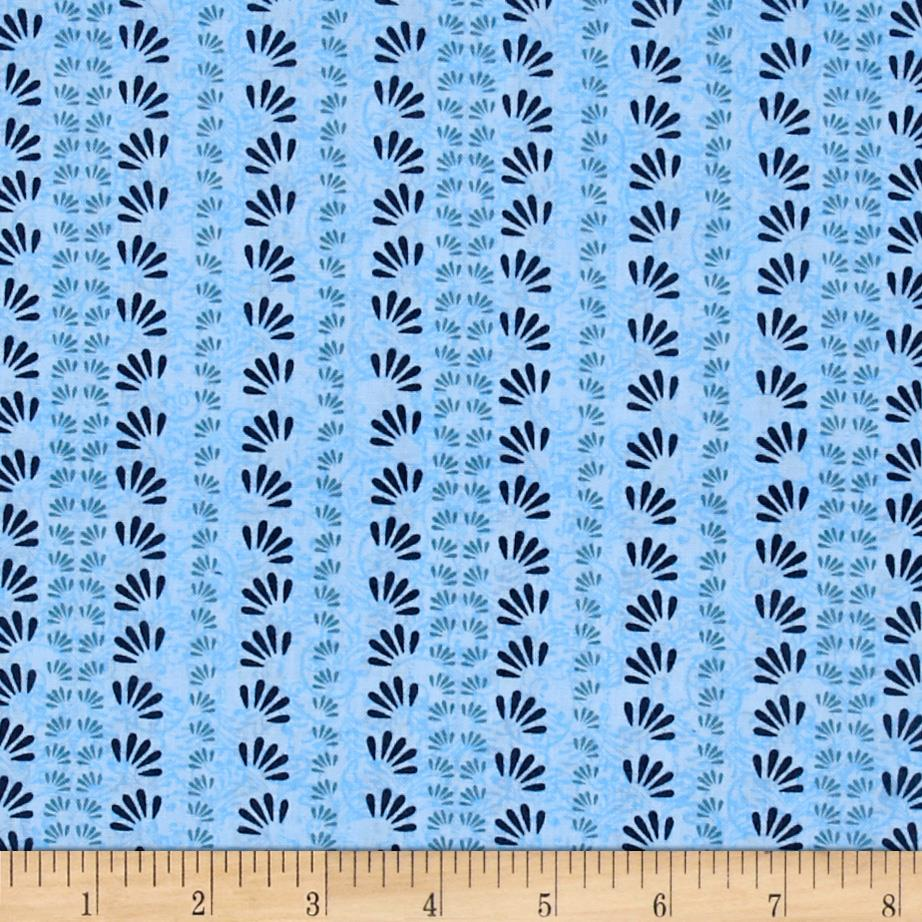 Oasis Fan Floral Stripe Blue