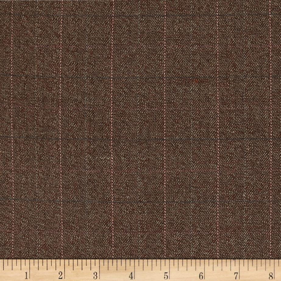 Designer Brushed Suiting Herringbone Grid Brown