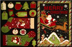 Rooftop Santas Wallhanging & Stocking Panel Multi
