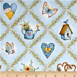 Holly Hobbie Flannel Icons In Diamonds Blue