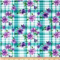 Designer Rayon Challis Flower Plaid Teal/Purple
