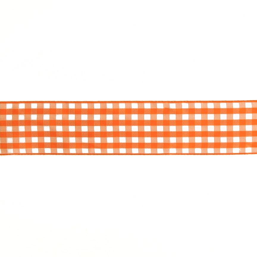 "1.5"" Gingham Ribbon Orange/White"