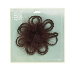 Jeweled Marabou Daisy Brooch 4'' Chocolate