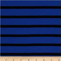 Stretch Rayon Jersey Knit Yarn Dyed Stripes Royal/Black