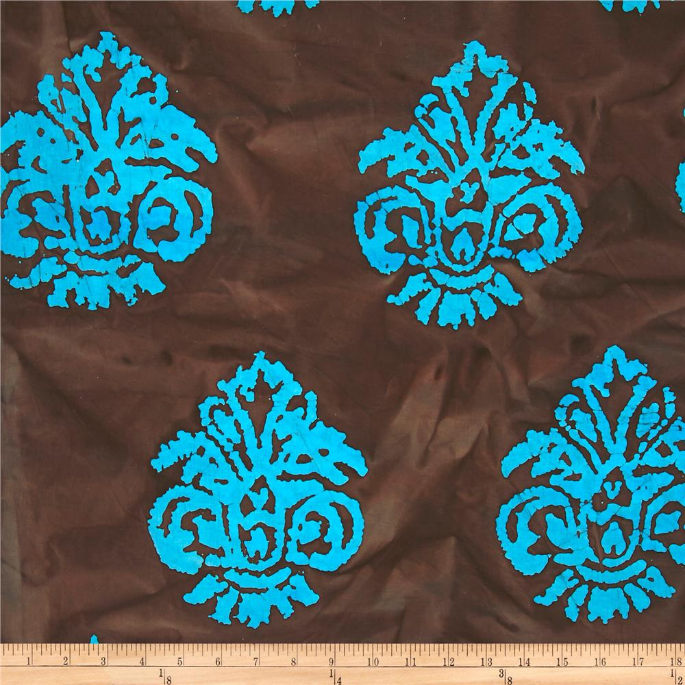 Indian Batik Arcadia Damask Turquoise/Chocolate