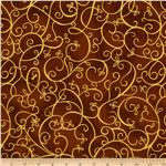 Bronze Shimmer Scroll Ginger Brown