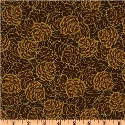 Timeless Treasures Autumn Harvest Pinecones Brown