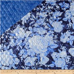 Indigo Blues Double Sided Quilted Roses & Paisley Blue