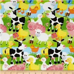 Flannel Farm Animals Green