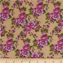 Designer Stretch Jersey Knit Floral Pink/Tan