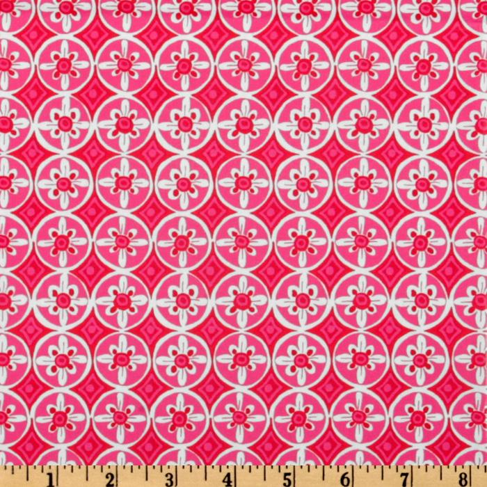 Tea Garden Laminated Cotton Oolong Medallions Fuchsia