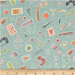 Button Tree Lane Sewing Light Teal