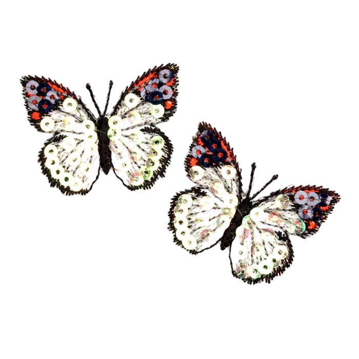 Small Butterfly Iron On Sequin Applique Ivory