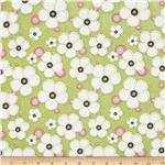 Stitched Garden Flowers Tossed Green