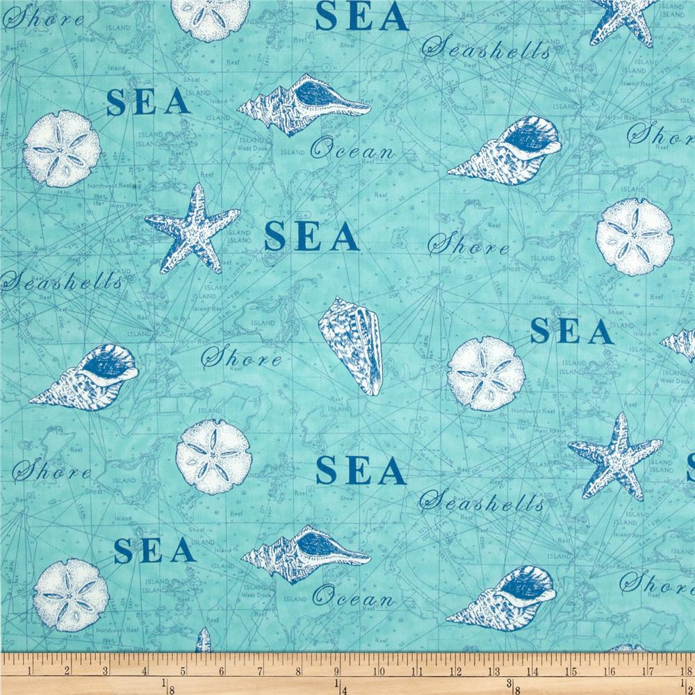 Moda Seascapes Map Twill Aqua