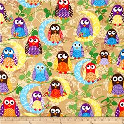 What a Hoot Flannel Large Owls Beige