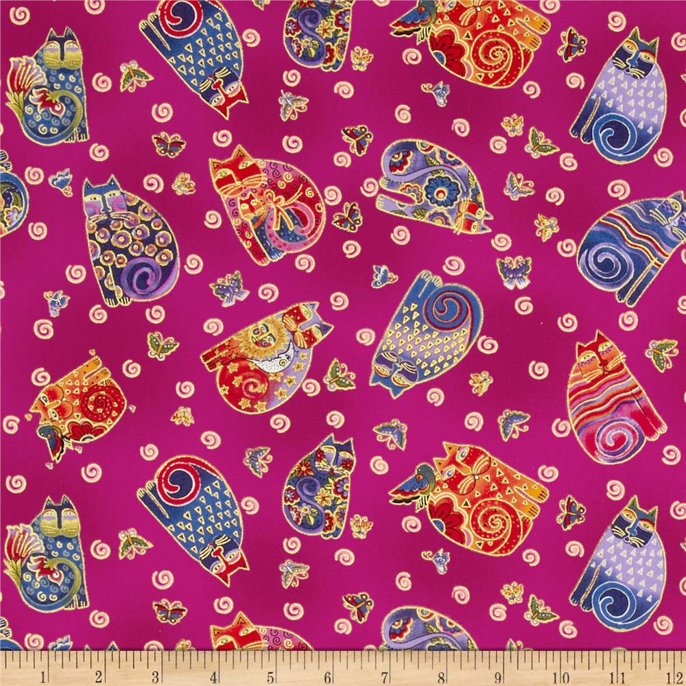 Laurel Burch Fabulous Felines Sitting Cats & Butterflies Fuchsia Metallic