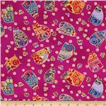 229887 Laurel Burch Fabulous Felines Sitting Cats & Butterflies Fuchsia Metallic