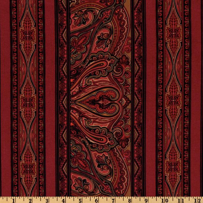 Kashmir Paisley Stripes Crimson