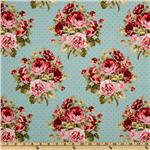 FI-304 Large Roses & Dots Blue